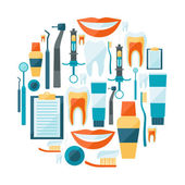 Medical background design with dental equipment icons. — Vector de stock