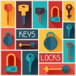 Background design with locks and keys icons. — Stock Vector #59983233