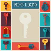Background design with locks and keys icons. — Stock Vector