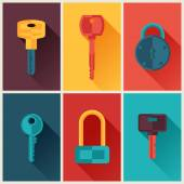 Locks and keys icons set in flat style. — Stok Vektör