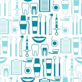 Medical seamless pattern with dental equipment icons. — Stock Vector