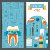 Medical banners design with dental icons. — ストックベクタ