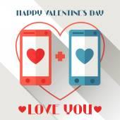 Happy Valentines illustration in flat style. — Stockvektor