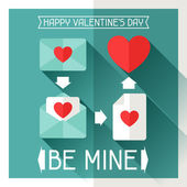 Happy Valentines illustration in flat style. — Stock Vector