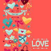 Wzór z Walentynki i wesele ikony. — Wektor stockowy