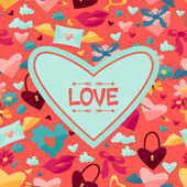 Background with Valentines and Wedding icons. — 图库矢量图片