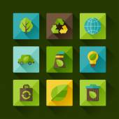 Ecology set of environment and pollution icons. — Stock Vector