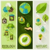 Ecology banners with environment icons. — Stock Vector