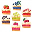 Set of cakes with various filling. — Stock Vector #62047911