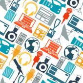 Seamless pattern with journalism icons. — Stock Vector