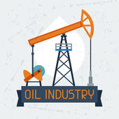 Oil pump jack background. — Stock Vector