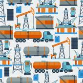Industrial seamless pattern with oil and petrol icons. — Stock Vector