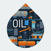 Industrial background design with oil and petrol icons. — Stock Vector