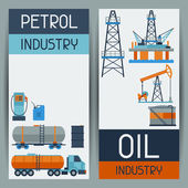 Industrial banners design with oil and petrol icons. — Stock Vector