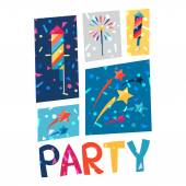 Celebration party poster with shiny confetti. — Vettoriale Stock
