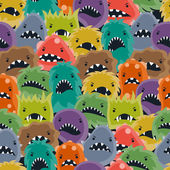 Seamless pattern with little angry viruses and monsters. — Stockvektor