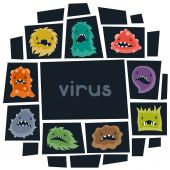 Background with little angry viruses and monsters. — Stock Vector