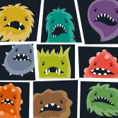 Set of little angry viruses and monsters. — Stock Vector