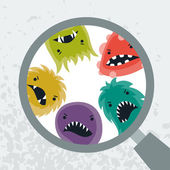 Background with little angry viruses and magnifier. — Stock Vector