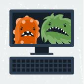 Abstract illustration computer infected with viruses. — Stock Vector