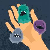 Background with little angry viruses and hand. — Stock Vector