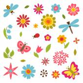 Natural set of beautiful flowers, beetles and butterflies. — Stock Vector