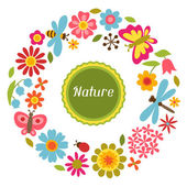 Natural card with beautiful flowers, beetles and butterflies. — Vecteur