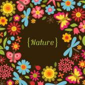 Natural card with beautiful flowers, beetles and butterflies. — Stock Vector