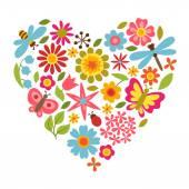 Carta naturale con splendidi fiori, coleotteri e farfalle. — Vettoriale Stock