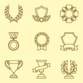Trophy and awards icons set in linear style. — Vector de stock