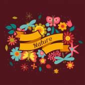 Card with beautiful simple flowers, beetles and butterflies — Cтоковый вектор