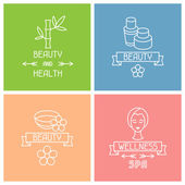 Set of spa labels in linear style — Stock Vector