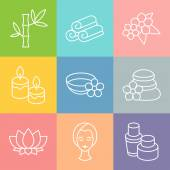Set of spa and recreation icons in linear style — Stock Vector