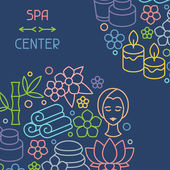 Spa and recreation background with icons in linear style — Stock Vector