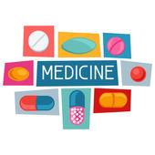 Conception de formation médicale avec pilules et capsules — Vecteur