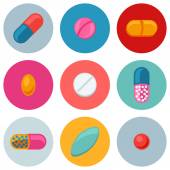 Set of various pills and capsules icons — Stock Vector