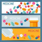 Medicinska banners design med tabletter och kapslar — Stockvektor