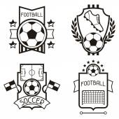 Set of sports labels with soccer football symbols. — Stockvector