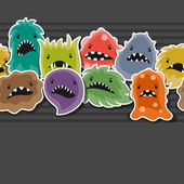 Seamless pattern with little angry viruses and monsters. — Stock Vector