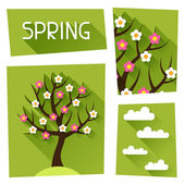 Seasonal illustration with spring tree in flat style. — Stock Vector