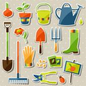Set of garden sticker design elements and icons — Stock Vector