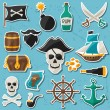 Set of stickers and objects on pirate theme — Stock Vector #68224863