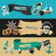Banners on pirate theme with stickers and objects — Stock Vector #68224989