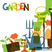 Background with garden design elements and icons — Cтоковый вектор