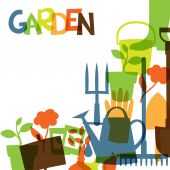 Background with garden design elements and icons — Vector de stock