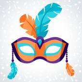 Festive carnival mask on background of confetti — Stock Vector