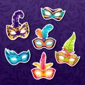 Set of celebration festival carnival masks stickers — Stock Vector