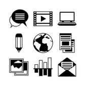 Media and communication set of blog icons — Stock Vector