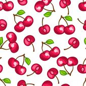 Seamless pattern with stylized fresh ripe cherries — Stock Vector