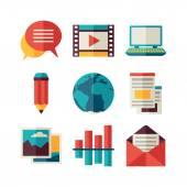 Mídia e comunicação conjunto de ícones do blog — Vetor de Stock